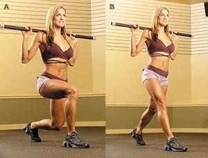 Выпады - отличное упражнение для укрепления ягодиц, укрепление задней поверхности бедра