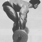 Тренировка Арнольда Швацнеггера. Тяга штанги в наклоне. Только какого черта он так согнул спину? ведь с него берут пример миллионы! :-)