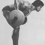 Тренировка Арнольда Швацнеггера. Тяга штанги в наклоне.