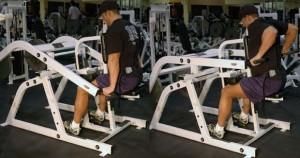 Тренировка грудных мышц и трицепсов в тренажере для жимов
