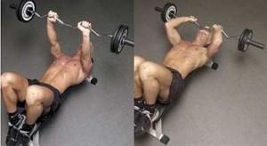 Французский жим лежа на трицепс. Лучше не ставить ноги на скамью, можно потерять равновесие и проломить череп штангой.