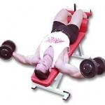Тренировка нижнего отдела грудных мышц Разведение рук вниз головой на наклонной скамье с гантелями