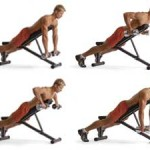 Тренировка широчайших мышц спины на наклонной скамье