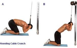 Скручивание с верхним блоком. тренировка мышц пресса