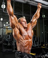 Бодибилдер Джей Катлер Jay Cutler Тренирока мышц пресса. Подъемы ног в висе