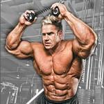 Бодибилдер Джей Катлер Jay Cutler Тренирока мышц пресса. Скручивания на коленях с верхним блоком