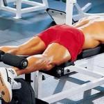 Сгибания ног лежа, тренировка бицепсов бедер и ягодиц. мышц задней поверхности ведра