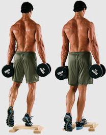 Тренировка мышц голени, подъемы на носок с гантелью. Бодибилдинг