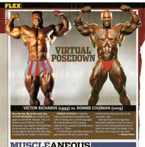 Сравнение Ронни Колеман против Виктора Ричардса, фитнес против бодибилдинга, двойной бицепс, Ronnie Coleman vs Vicotr Richards double biceps