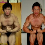 Азиатский бодибилдер до и после сушки.