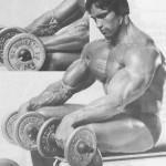 Арнольд Шварценегер разгибание кистей с гантелями, тренировка мышц предплечий
