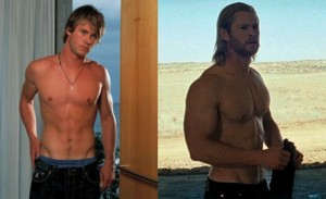 Крис Хемсфорт, ТОР, трансформация тела, до и после, актер качек