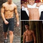 Тэйлор Лотнер, до и после, актер-качек, пресс 6 кубиков, бодибилдинг, рельефные мышцы